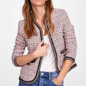 Zara Colorful Tweed Blazer with Chain Trim